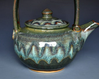 Mountain Dell Ceramic Teapot Green Forest Teapot. Pottery Stoneware A