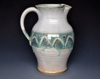 Stoneware Pottery Lemonade Pitcher Ceramic Jug Aqua Blue Green