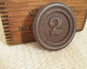 Vintage Salvaged Cast Iron Scale Weight - Number 2 - Circular Shape