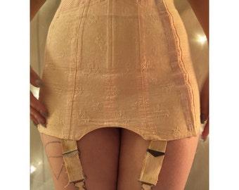 "Vintage 1960's High Waisted Peach Satin and elastic Girdle with Garter straps waist 26"""