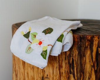 Set of 3 Clean White Cotton Tea Towels with Flower Details Stitched On