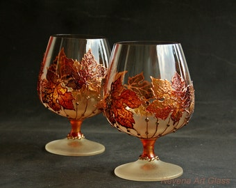 Brandy Glasses, Autumn Leaves Glasses, Fall Glasses, Hand painted, maple leaf glasses, Set of 2