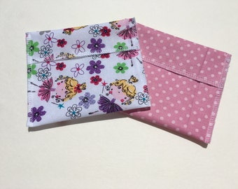 Reusable Snack Bag Set of Two Ballerina Pink Polka Dots Eco Friendly