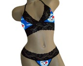 Sexy Toronto Blue Jays MLB Lingerie Black Lace Cami Bralette Style Tie-Top and Matching G-String Panty Thong CUSTOM Sizing