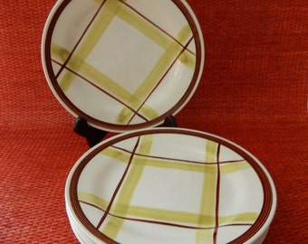 6 Edwin Knowles Plaid Luncheon Plates by Virginia Hamill, MCM Midcentury Green and Brown Pacific Plaid China