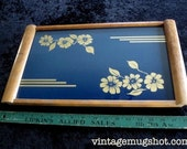 "Hawaiian Flowers  Vintage Wood and Glass Serving Tray 10 3/4"" x 18""  Hawaiiana"