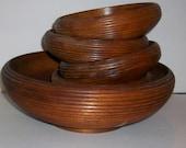 Large Dark Ridged Wood Serving Bowl & 4 Small Bowls