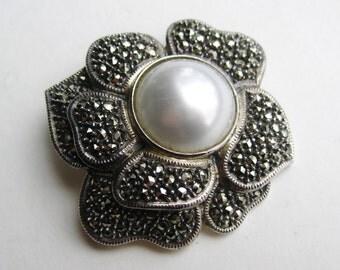Vintage Judith Jack Sterling Silver Marcasite Pearl Flower Brooch Pin