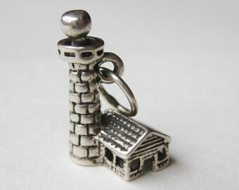 Vintage Charm Sterling Silver Coastal Lighthouse Bracelet Charm