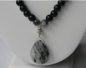 On Sale Black and Silk Stone Necklace