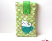 White cat in a tea cup smartphone pouch, iphone case, android phone sleeve green Mobile phone pouch