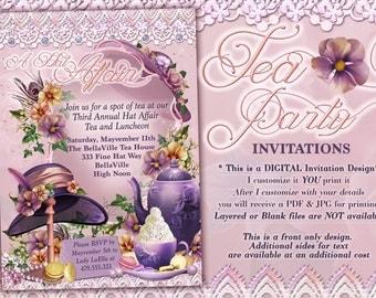 Tea Party Invitations, Hat Tea Parties, Hat Party Invitations, Birthday Tea Party