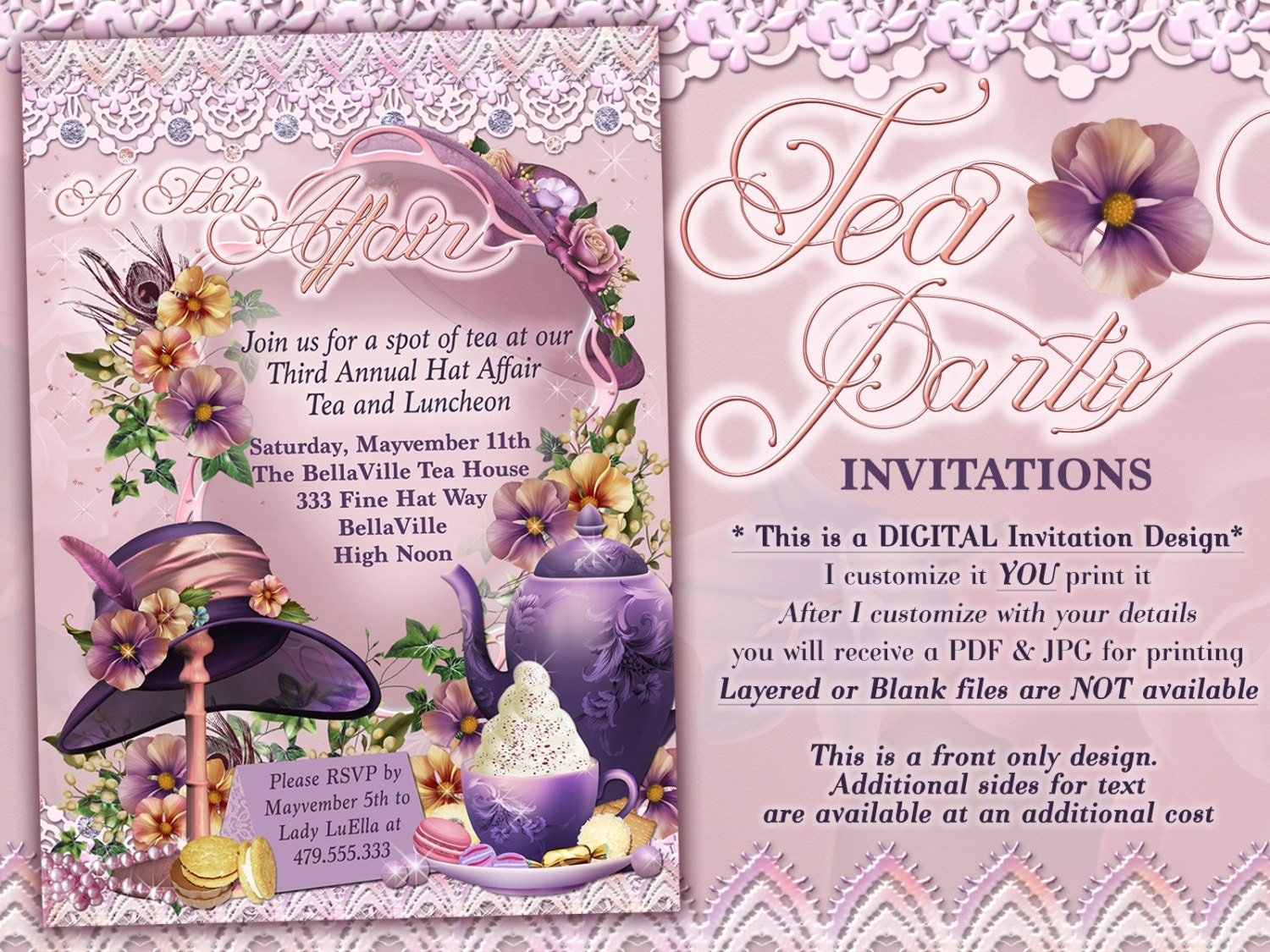 Tea Party Invitations Hat Tea Parties Hat Party Invitations