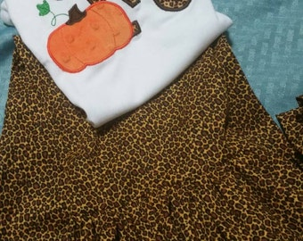 Leopard pants with Pumpkin initial shirt #PS001