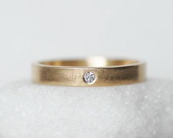 Diamond Wedding Band - 3mm Gold rectangular Band - Choose 14k OR 18k - Eco-Friendly Recycled Gold