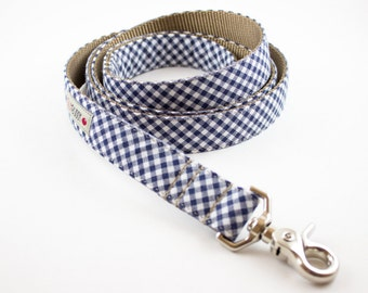 Navy Blue Gingham Dog Leash