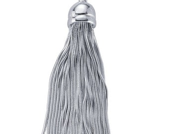 Sterling Silver Snake Chain Tassel Component, Pendant