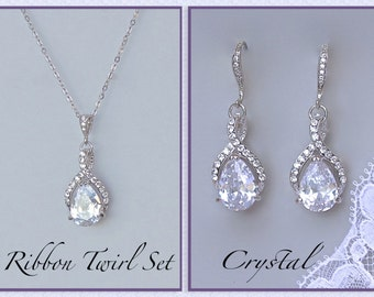 Crystal Bridal SET, Crystal Necklace & Earrings Set, Bridesmaids Jewelry Set, Wedding Jewelry Set, RIBBON TWIRL