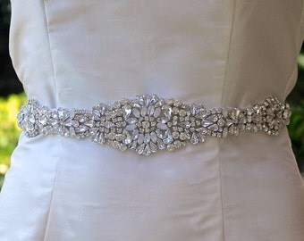 Opal Crystal Beaded Sash, Silver & Milk Opal Crystal Sash, Crystal Bridal Belt, Wedding Dress Belt, AMOUR Opal