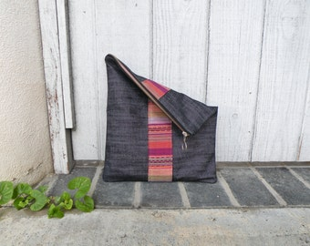 Large Pouch - Foldover Clutch - Dark Grey Jean Handbag - Travel Pouch - Organizer