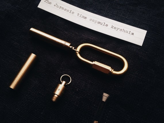 Jurassic Time Capsule Men's Keychain in Brass