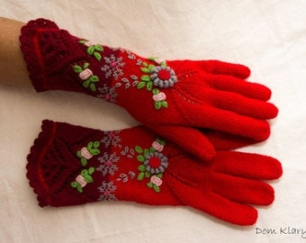 Red Floral Lace Knitted Embroidered Gloves - Winter with Love