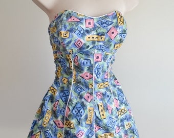 1950s Blue atomic print cotton skirted swimsuit / 50s boned strapless printed bathing costume - S m
