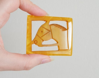 1930s Carved Bakelite horse brooch / 30s marbled Catalin framed equestrian pin