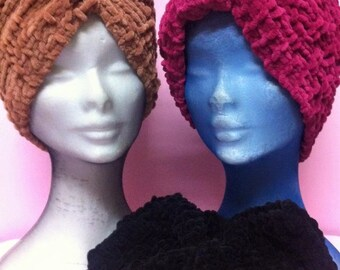 Boho Style Knitting  Chenille Turbans Black-Beige-Fuchsia,Knitting  Chenille Wool Turbans , Crochet Hairband Mini Hats.