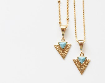 Turquoise Necklace | Turquoise Triangle Necklace |  Turquoise Geometric Necklace | Turquoise & Gold Necklace | Layering Necklace