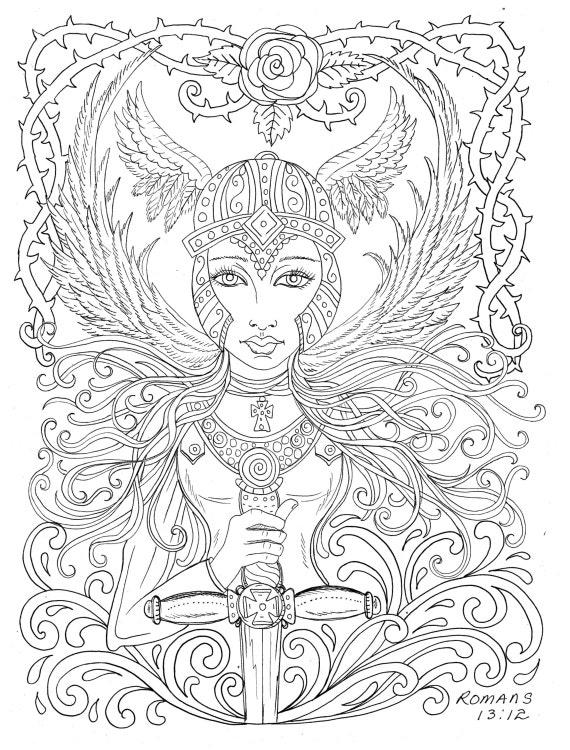 Warrior Angel Coloring page Adult Christian Color