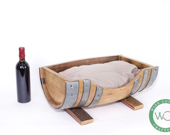 Pet Bed - DORMIO Wine Barrel Pet Bed // Cat or Dog Bed // Pet lovers gift // Wine Barrel Furniture // Upcycled // Customizable