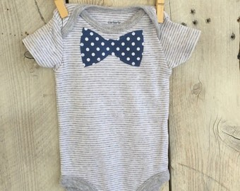 3 Months Bodysuit with Blue Polka Dot Bow Tie Infant