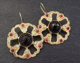 Dangly Round Petal Gemstone Ethnic Turkish Earrings - Black Red and Pale Blue Jade - Gold Plated Brass