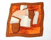 VINTAGE 1960s Scarf Mod Geometric Orange Brown Square