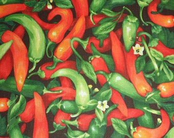 Chili Pepper Fabric Red Chili Pepper Fabric Green Chili Pepper Fabric  Cotton Fabric Craft Supplies Sewing Fabric Quilting Fabric