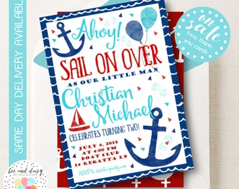 Sailor Invitation, Sailor Birthday Invitation, Sailor Party, Boy First Birthday, Boy Birthday, Sail Boat Invite, Anchor invite, BeeAndDaisy
