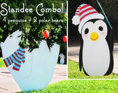 Penguin + Polar Bear Standee Combo - FREE SHIPPING - Polar Bear Cardboard Cutouts - Winter ONEderland - Winter Wonderland - Gwynn Wasson