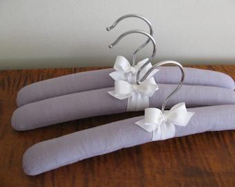 Lilac Baby Hangers, Lavender Hangers, Lavender Children's Hangers, Organic Ribbon, Baby Girl Hanger Set, Lilac Linen Padded Hangers Set of 3