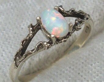 October birthstone Mythological Stone Protector Ring, Hand Crafted Recycled Sterling Silver, handmade Synthetic Opal fantasy fairy Elves elf