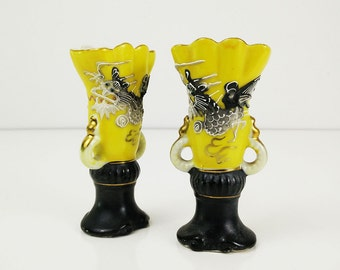 Dragonware Bud Vases, Japanese Moriage Set of Two