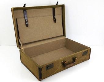 1940s Brown Tweed Suitcase / Vintage Luggage / Hardside Suitcase / Leather trim & handle