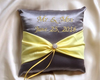 ring bearer pillow with name embroidered grey with yellow
