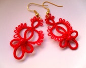 Handmade tatted red earrings made of cotton thread and  beads, lace  tatted earrings, gifts for valentine days