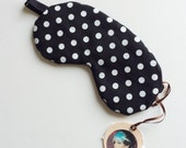SALE- black and white spots Pinup Cotton Bamboo Sleepmask Eyemask  - Love Me Sugar HH