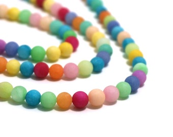 6mm matte Candy Jade, Mixed rainbow strand, colorful round gemstone beads ( aka Mountain Jade )   Item #1241S