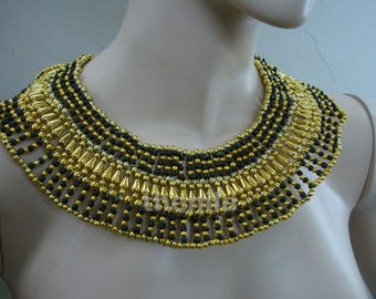 Large Black Egyptian Beaded Queen Cleopatra Collar Mega Sale