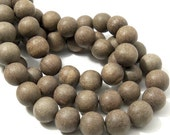 Unfinished Graywood, 14mm - 15mm, Round, Smooth, Natural Wood Beads, 16 Inch Strand - ID 2165