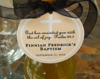 "Baptism Psalm 45:7 Custom Thank You 2"" Favor Tags - For Mini Wine or Champagne Bottles - Cookies - Mason Jar Favors - (50) Gift Tags"