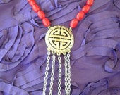 Vintage Red Chinese tassel choker necklace